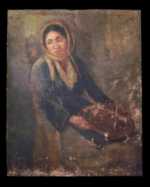 """""""Γυναίκα με κοφίνι"""" Λάδι σε μουσαμά100,5Χ81,5 εκ."""